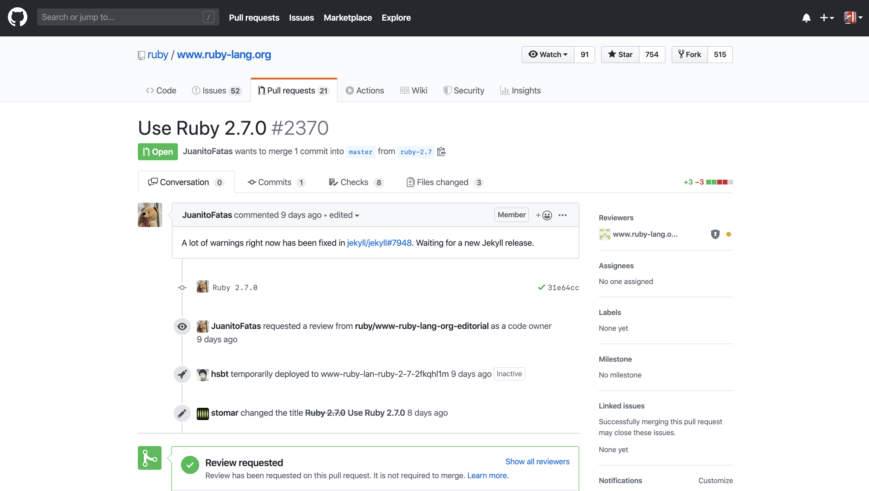 GitHub's PR page