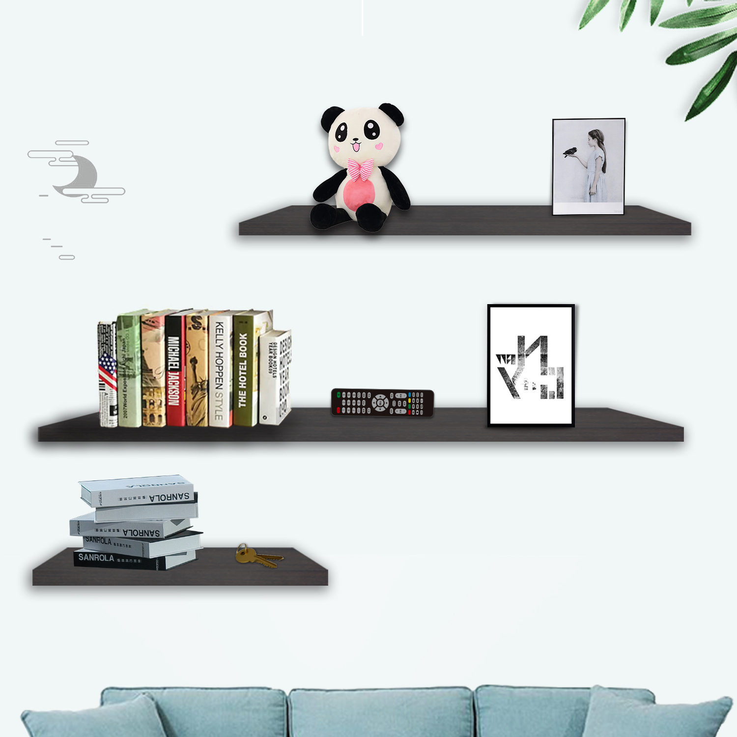 3pcs Wall Floating Shelf Set Bookshelf Shop Display Walnut