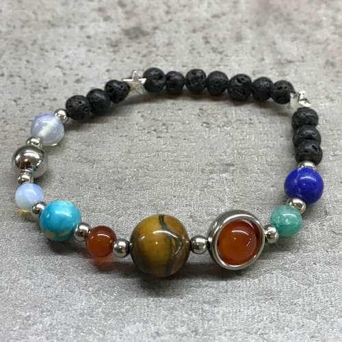 lava stone bracelet - silver solar system