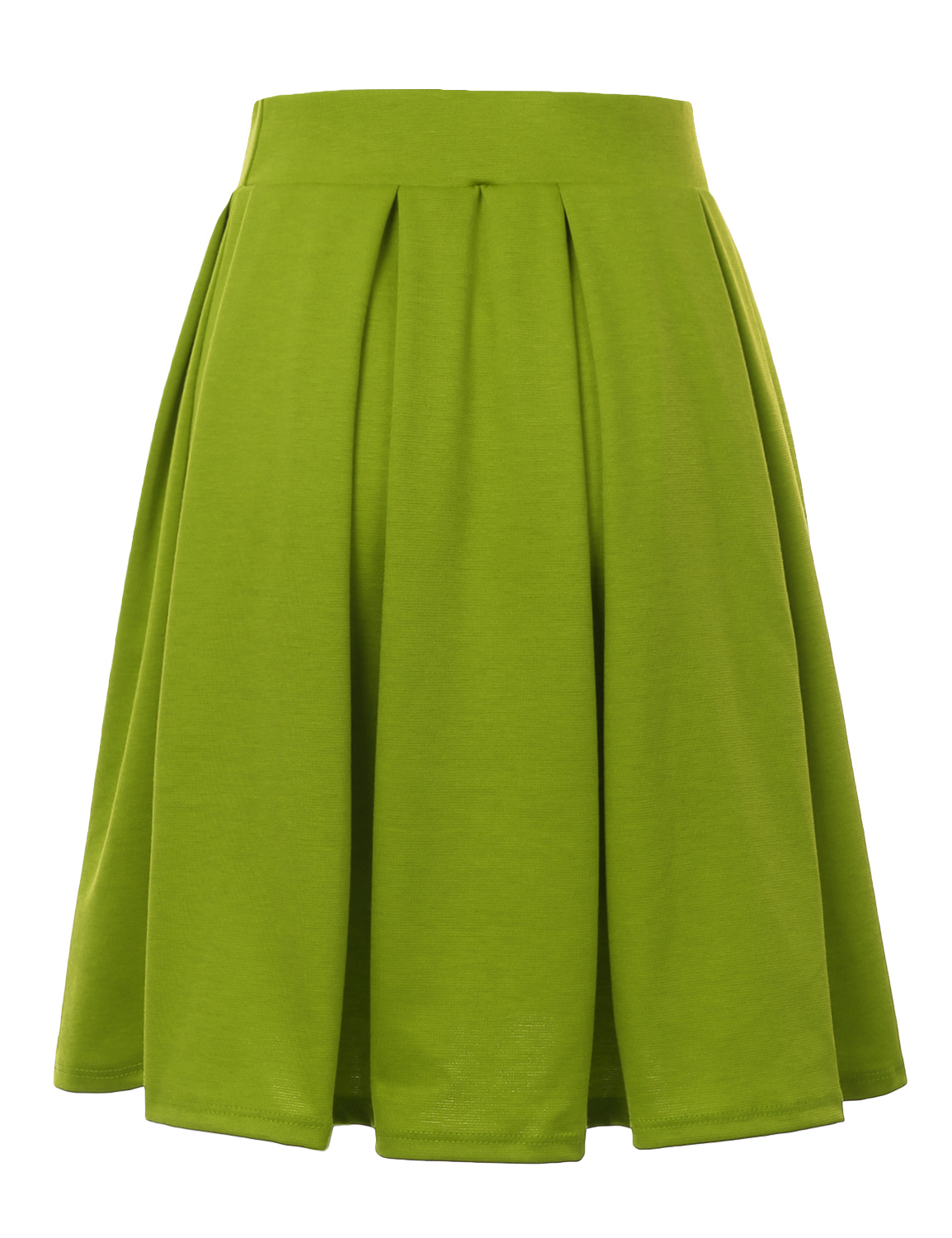 Doublju-Elastic-Waist-Flare-Pleated-Skater-Midi-Skirt-for-Women-with-Plus-Size thumbnail 3