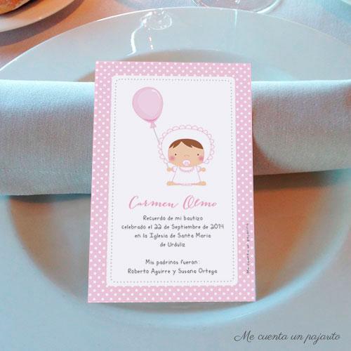Recordatorio de bautizo personalizado bebe con globo rosa
