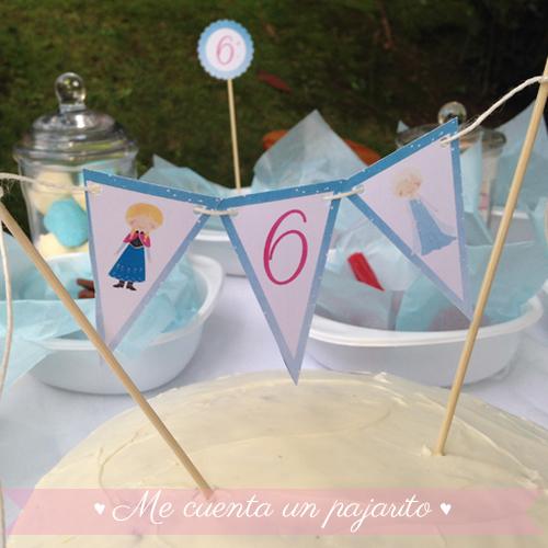 Guirnalda tarta personalizada del cumpleaños de Frozen con Elsa y Ana