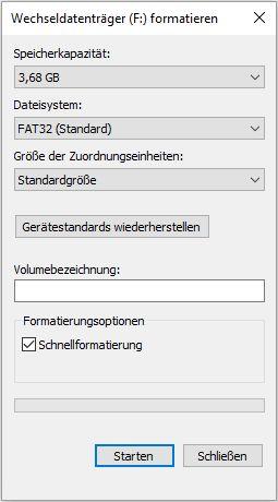 Formatierung der SD-Card