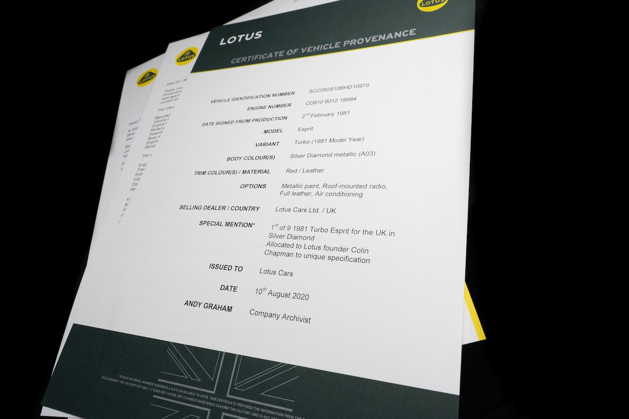 Lotus launches new Certificate of Provenance programme