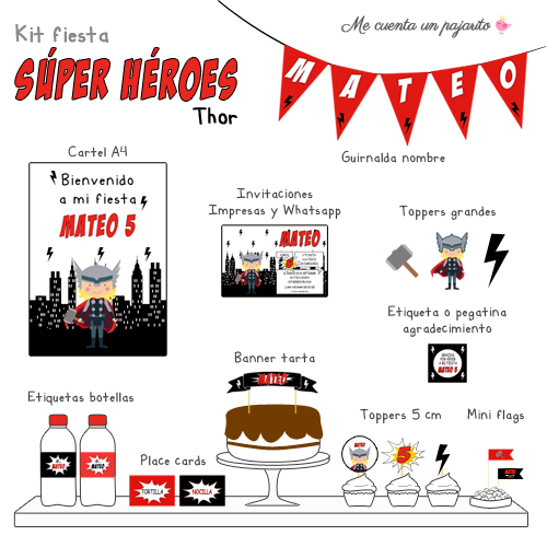 kit de cumpleaños súper héroe Thor, cartel, guirnalda nombre, invitaciones, toppers grandes, etiquetas botellas, place cards, banner tarta, toppers, mini flags, etiqueta gracias por venir