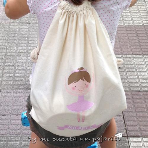 Mochila personalizada de algodón bailarina