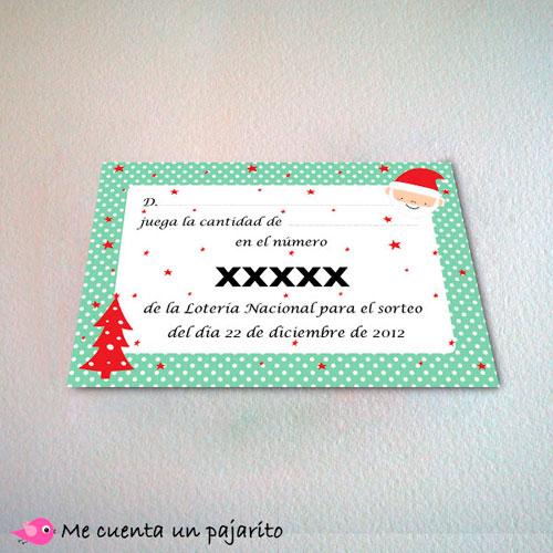 Participación personalizada de lotería de Navidad