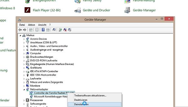 Über den Geräte-Manager per Systemsteuerung lässt sich ein Netzwerk-Anschluss entfernen.