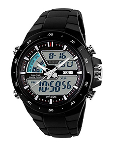 Skmei 1016 Black Dual Time Alarm Chronograph Water Resistance 50M Watch For Men