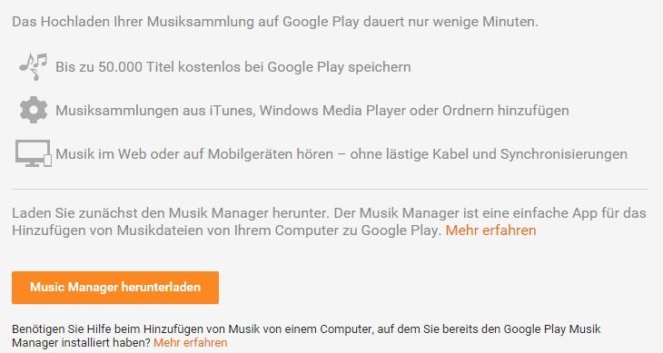 Die gesamte Musik-Sammlung hochladen: Mit dem Upload-Manager kein Problem.