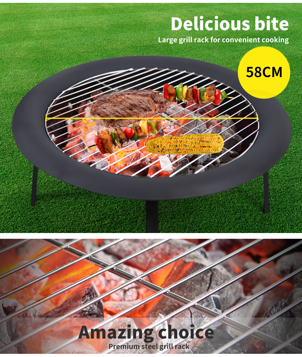 """thumbnail 30 - 22"""" 30"""" Fire Pit BBQ Grill Pits Outdoor Portable Fireplace Garden Patio Heater"""