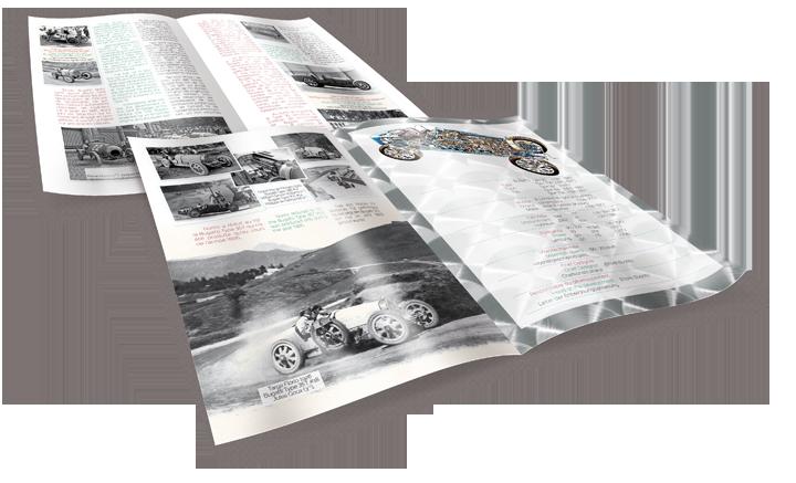 4 pages issues du livret consacré à la Bugatti Type 35. Cliquez pour afficher en HD