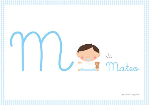 Lámina inicial nombre bebe niño