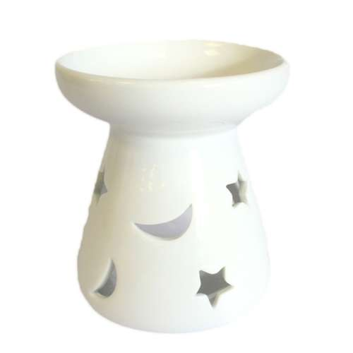 oil and wax burner - moon and stars (large)