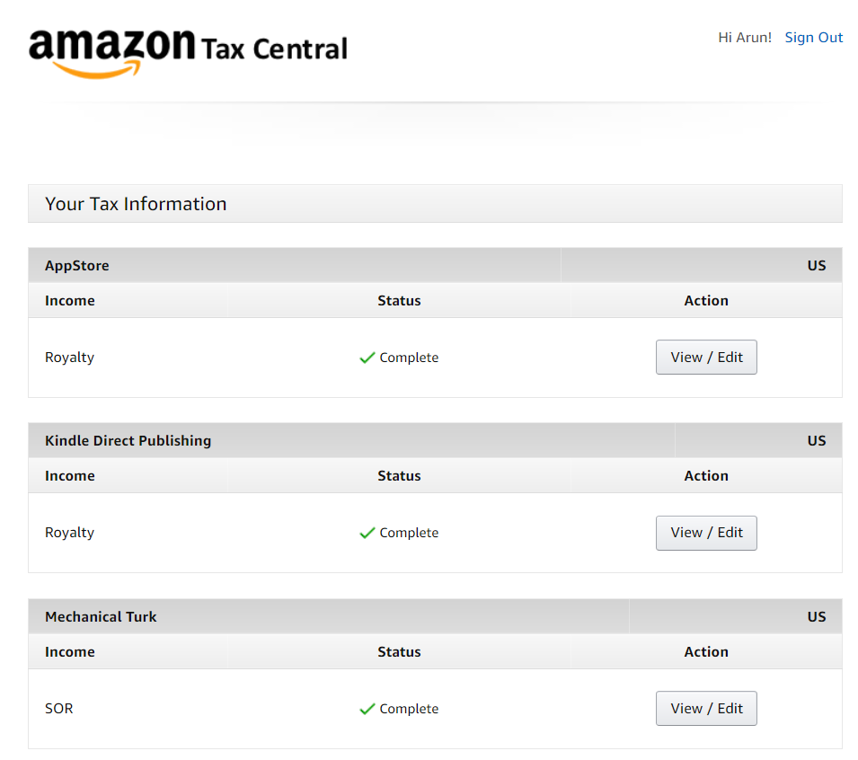 how to view all amazon tax information