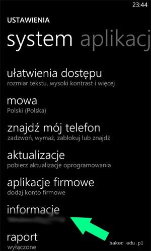 windows phone system informacje