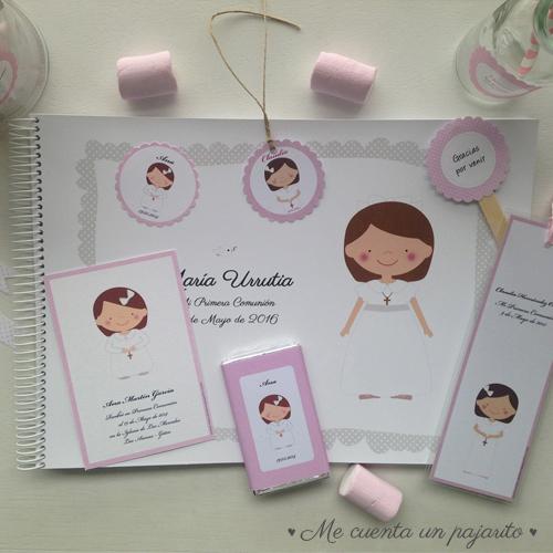 álbum de firmas y fotografías de comunión, recordatorio de comunión, marca-páginas de comunión, chocolatina, etiqueta, pegatina