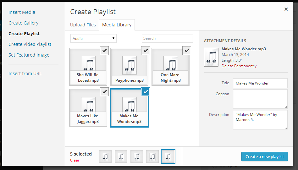 tạo playlist- WordPress 3.9 Beta 1