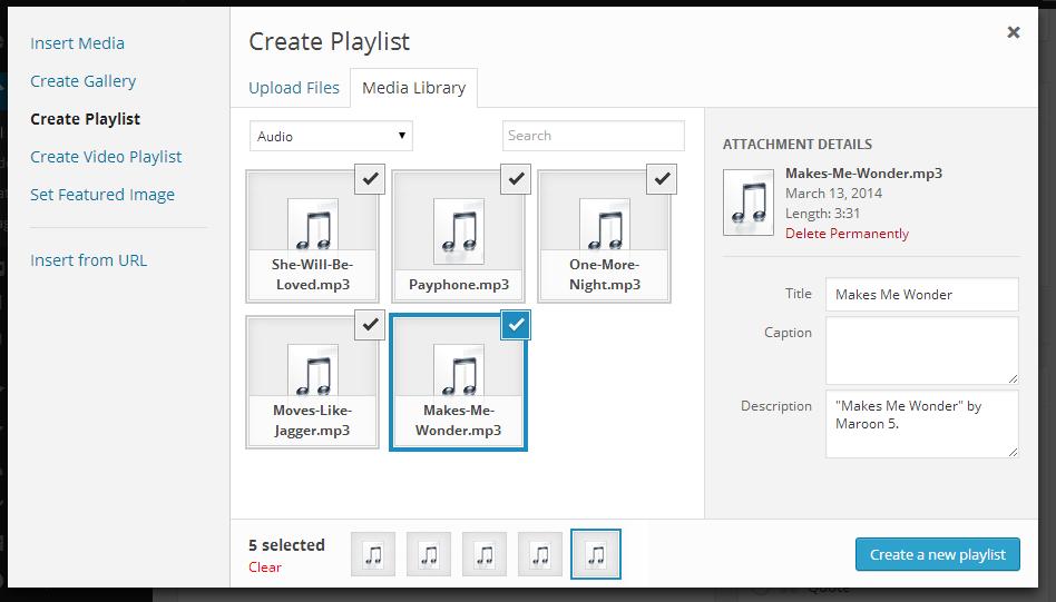 tạo playlist- WordPress 3.9 Beta 1
