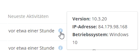 Infos zu IP-Adresse, Programm-Version + Betriebssystem des Dropbox-Nutzers.