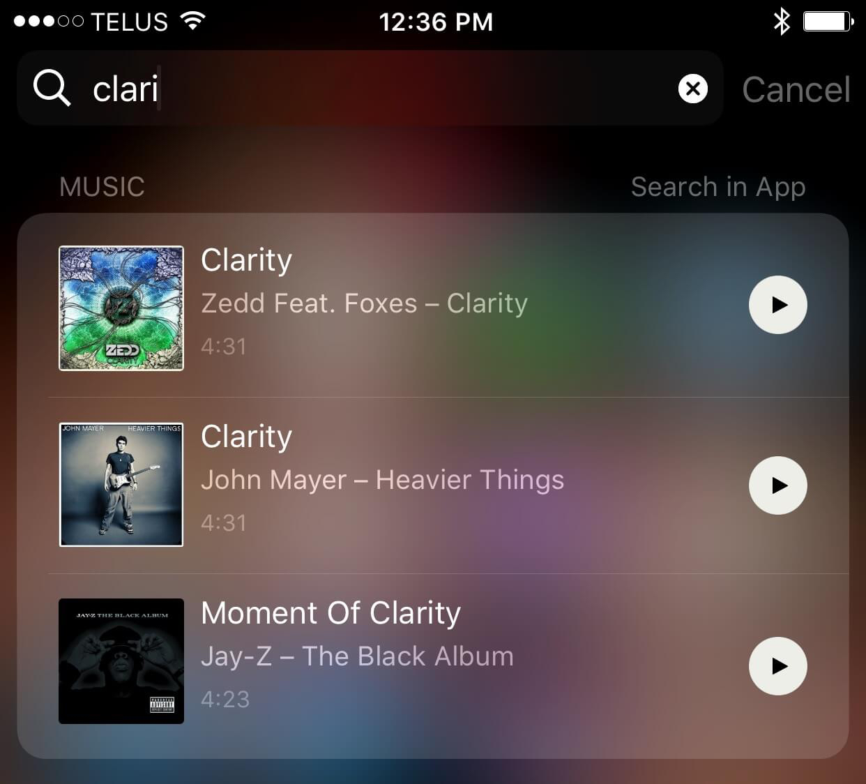 Spotlight searching for a song can be quicker than 3D touching the Music app