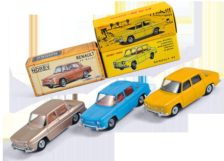 La Renault R8 Norev en beige Galapagos métallisé face à ses consoeurs Dinky Toys Atlas (miniature bleue et boîte jaune claire) et Dan-Toys (jaune bouton d'or). Cette dernière étant issue d'une reproduction de la R8 Gordini Dinky Toys. Cliquez pour afficher en HD