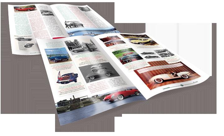 4 pages issues du livret consacré à la Jaguar Type E. Cliquez pour afficher en HD