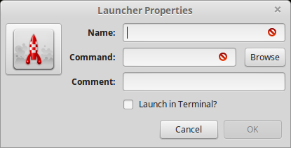 17). Launcher Properties window opens up