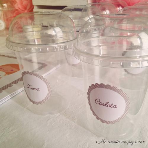 mesa dulce primera comunión vasos de smoothie con pegatina personalizada