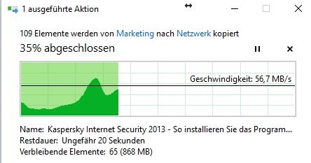 Schnelle Übertragung beim Kopieren von einer SSD