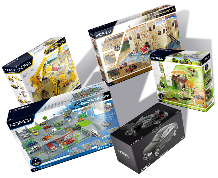 Différents packagings (jouet et collection) de divers formats. Cliquez pour afficher en HD