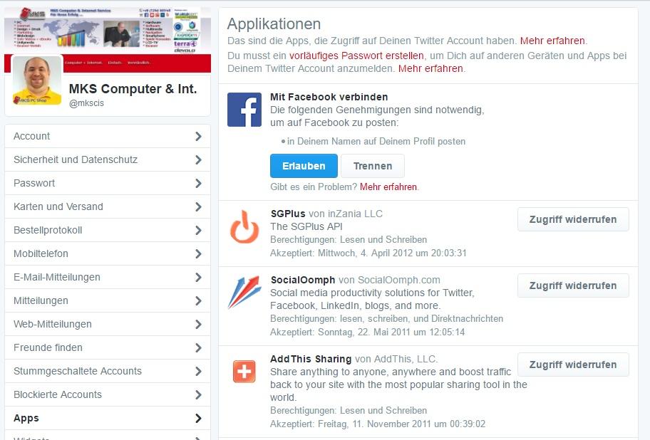 Liste der verbundenen Dienste in Twitter.