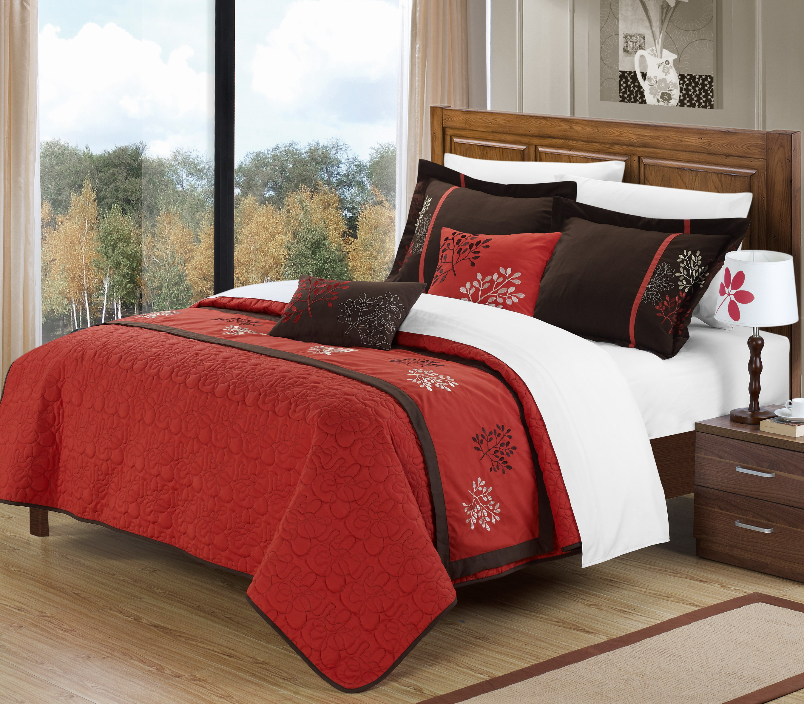 Perfect Home Forest Brick 6 Piece Queen Size Comforter Set