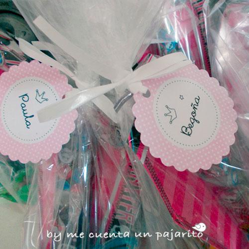 Etiquetas de bolsa de chuches, caramelos del cumpleaños de Marina, sello personal