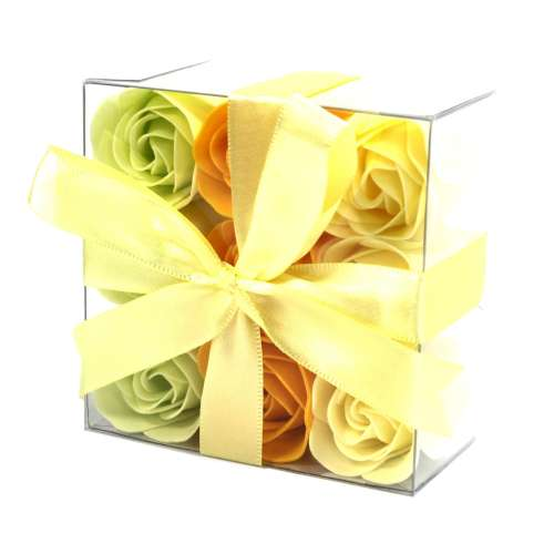 set of 9 soap flowers - yellow roses