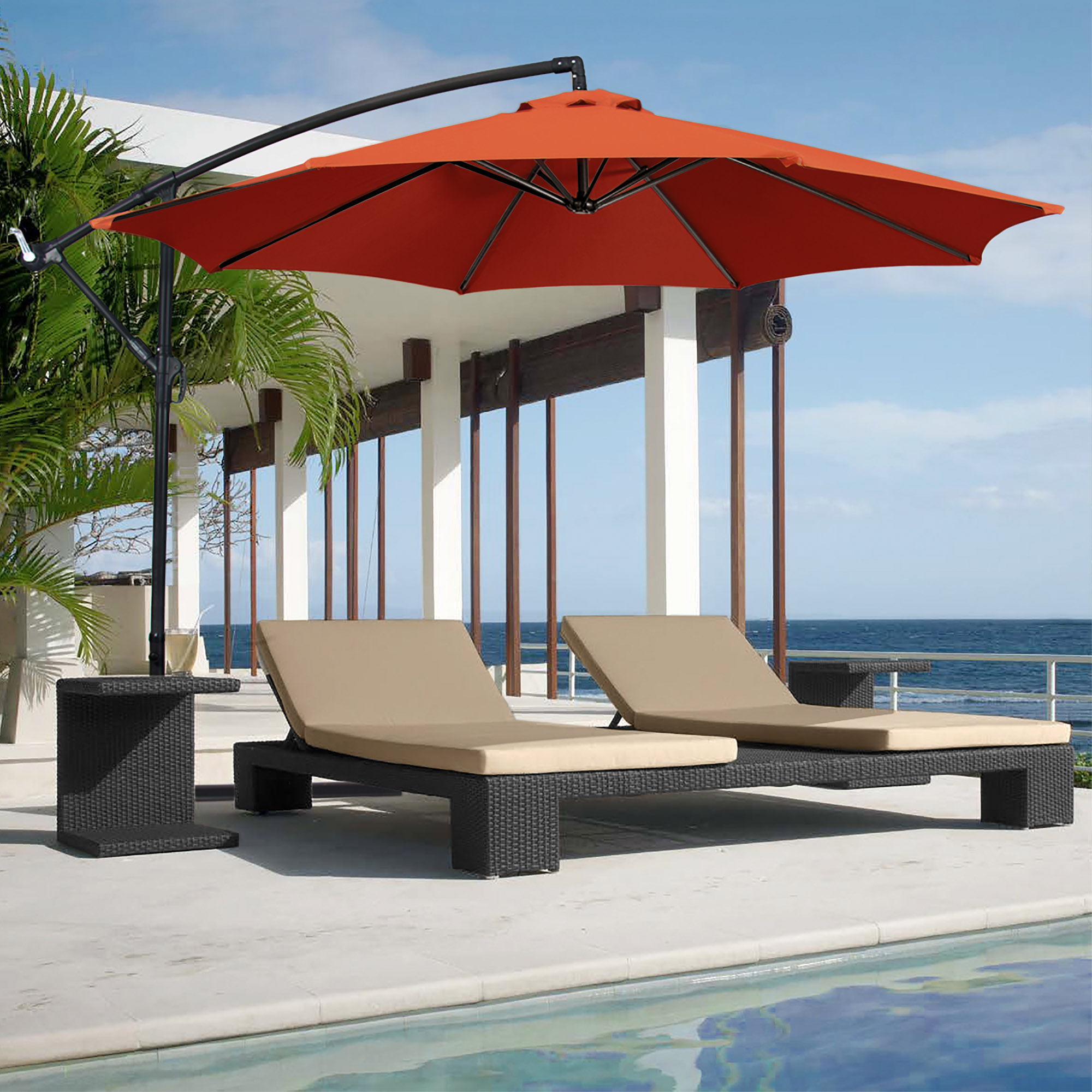 BCP-10ft-Offset-Hanging-Market-Patio-Umbrella-w-Tilt-Adjustment-Hand-Crank thumbnail 44