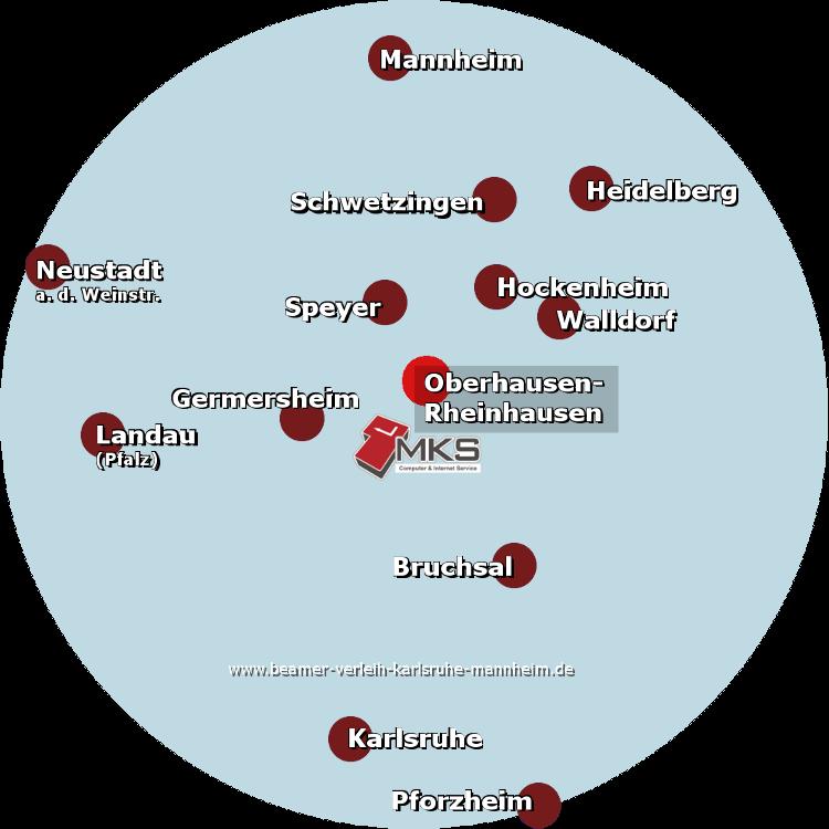 Beamer-Verleih in Oberhausen-Rheinhausen - schnell erreichbar in den Regionen Karlsruhe, Mannheim, Heidelberg, Bruchsal, Speyer, Hockenheim, Germersheim, Pforzheim, Landau (Pfalz), Neustadt a. d. Weinstraße, Schwetzingen und Walldorf
