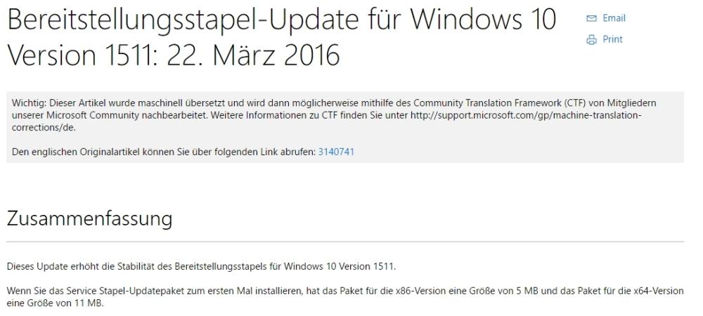"""KB3140741 wird von Microsoft auf deren Seite so beschrieben: """"Dieses Update erhöht die Stabilität des Bereitstellungsstapels für Windows 10 Version 1511."""""""