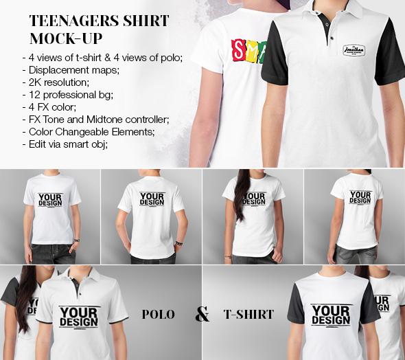 Teenagers T-Shirt and Polo Mock-up