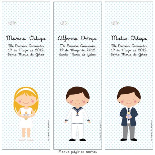Marca páginas de Primera Comunión personalizado niña, niño, cirio manos, copa manos, marcalibro