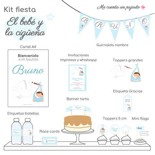 kit de bautizo personalizado cigüeña con bebe