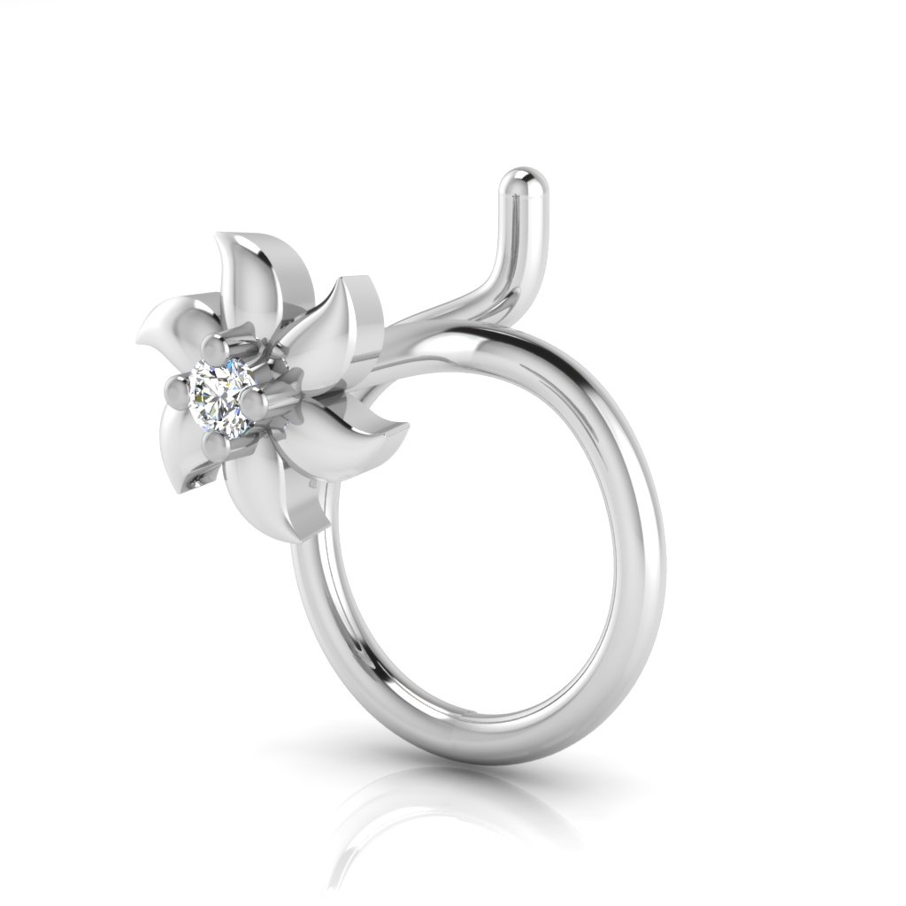 The Elegant Solitaire Diamond Nose Pin