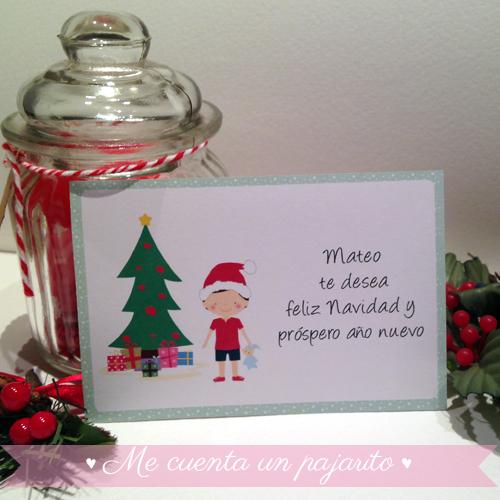 Felicitación de Navidad personalizada con niño, Mateo