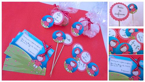 kif fiesta de Cumpleaños de Caperucita roja, invitaciones, etiquetas, toppers