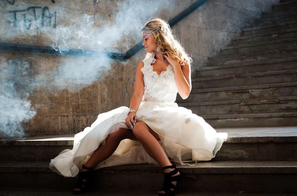 Beautiful woman in wedding gown