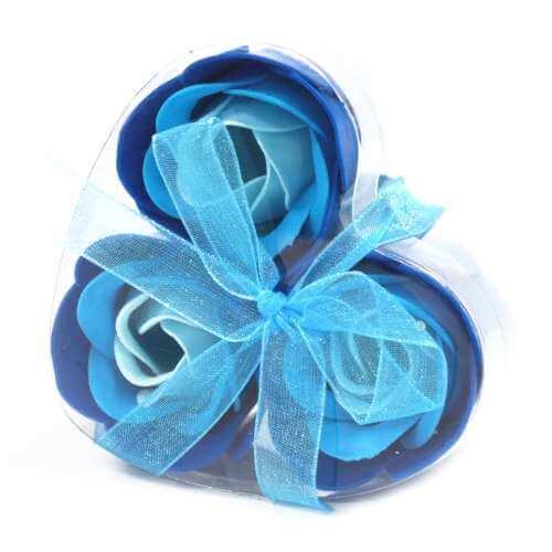 set of 3 soap flowers - blue roses