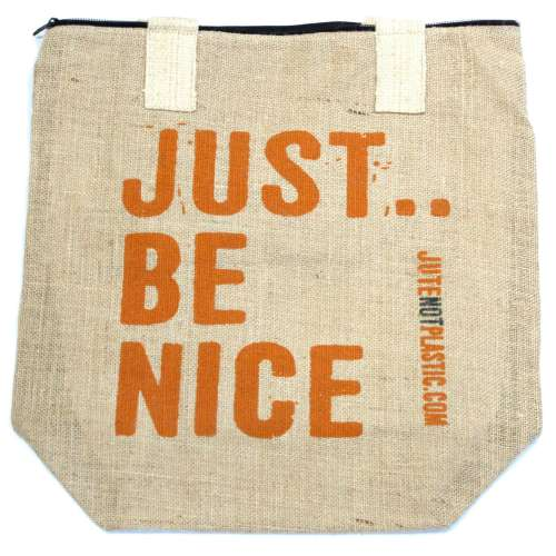 eco jute bag - just be nice (orange)