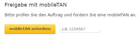 Für die Bestätigung einer Überweisung kann man eine sog. mTAN (mobile TAN) anfordern.