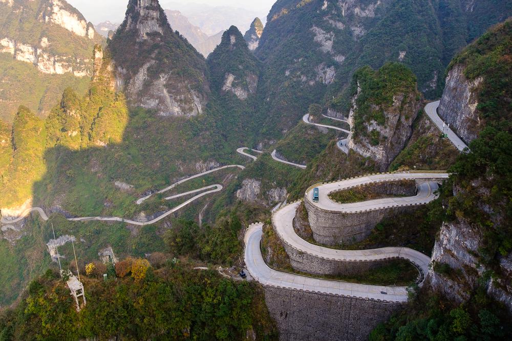 Vlak naast Zhangjiajie ligt de Tianmen berg. We gingen er naartoe met de kabelbaan, zo hadden we al meteen een magnifiek uitzicht!