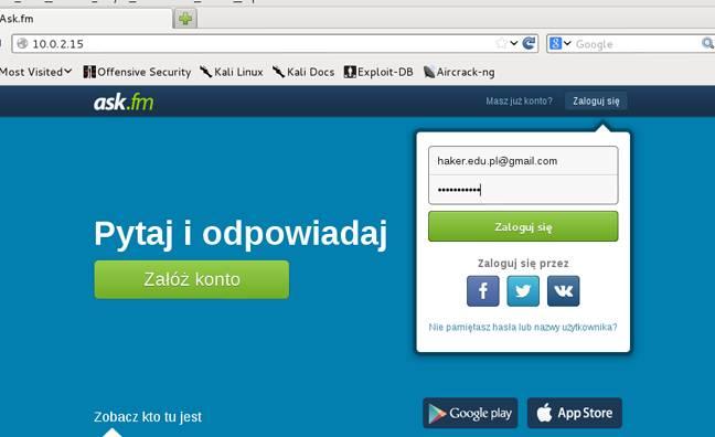strona phishingowa wyglądająca jak www.ask.fm